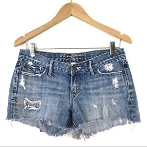 Abercrombie Distressed Cutoff Shorts Denim Raw Hem